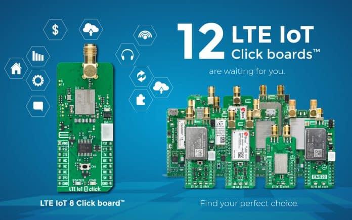 Scheda LTE IoT 8 Click per dispositivi indossabili e monitoraggio e misure di energia