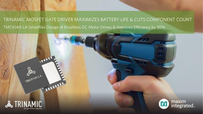 Gate driver MOSFET trifase che massimizza la durata della batteria e dimezza il numero di componenti